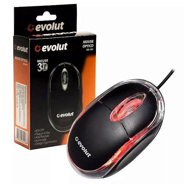Mouse Óptico USB Evolut EO-101 Led Red 800 Dpi Design Ergonômico