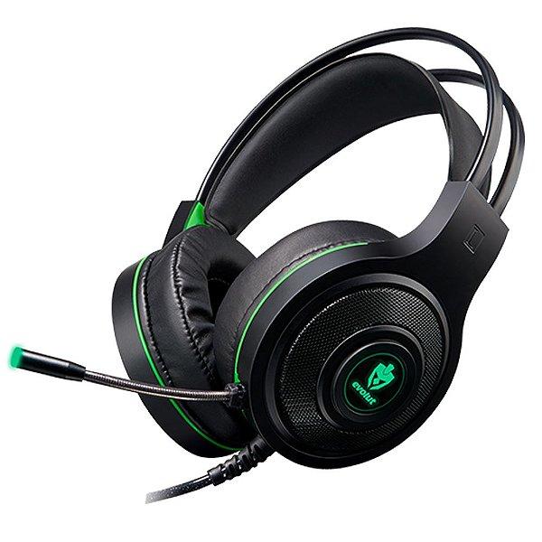 Headset Gamer Evolut Têmis EG-301GR LED Verde Conector 3,5mm + USB p/ LED