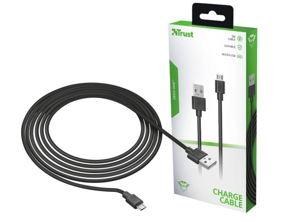 Cabo Micro-USB Trust GXT 224 x Charge & Play Para Xbox One 3 Metros