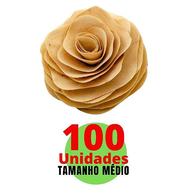 Kit com Flores em Madeira Tamanho Médio 10cm - 100 unidades