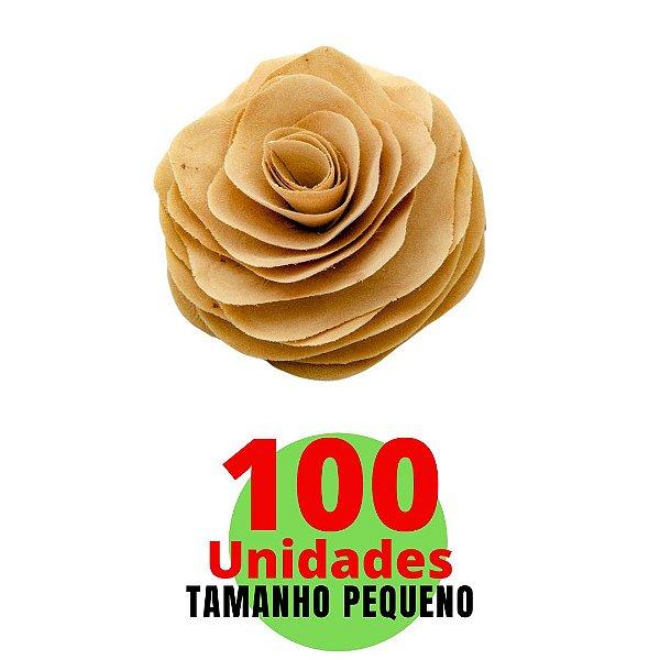 Kit com Flores em Madeira Tamanho Pequeno 8cm - 100 unidades