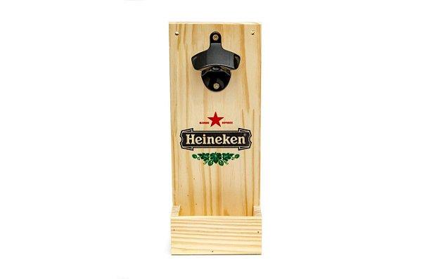 Abridor de Garrafas para Parede em Pinus - Heineken