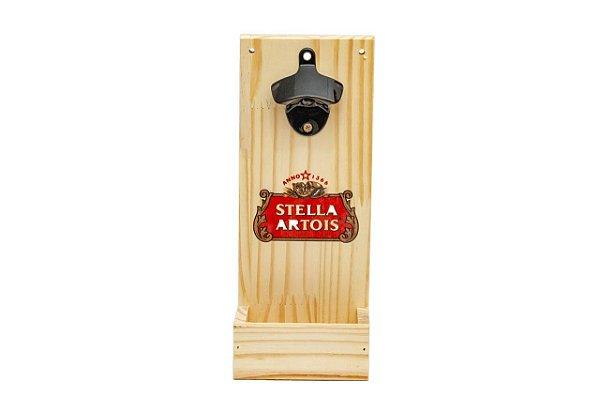Abridor de Garrafas para Parede em Pinus - Stella Artois