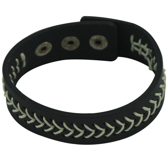 Pulseira de couro preta com linhas entrelaçadas preta