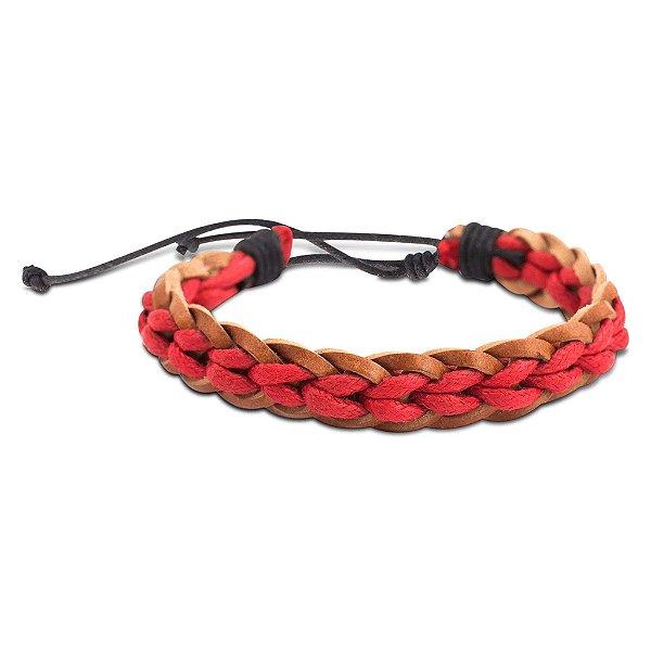 Pulseira de couro trançado marrom e vermelho
