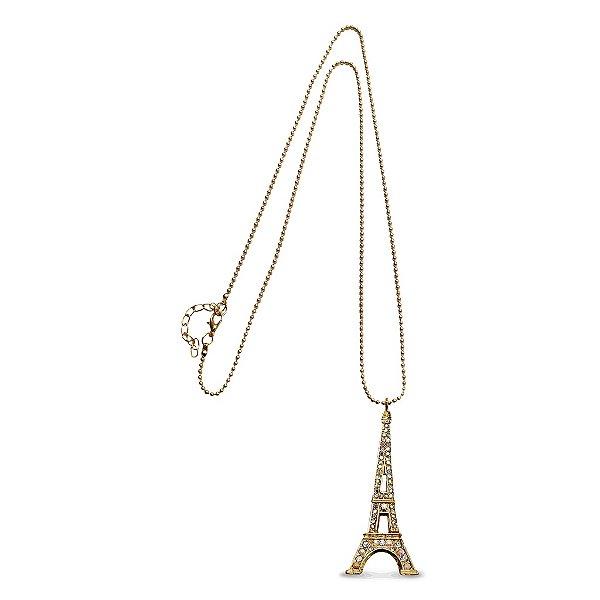 Colar dourado Torre Eiffel com Strass
