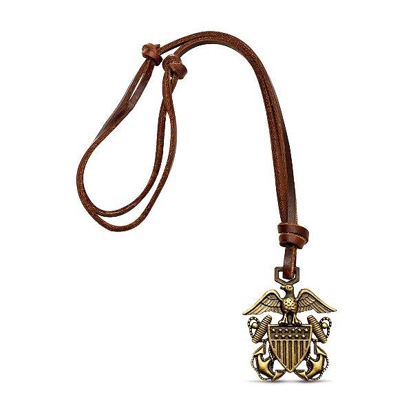 Colar de couro bronze brasão ancoras