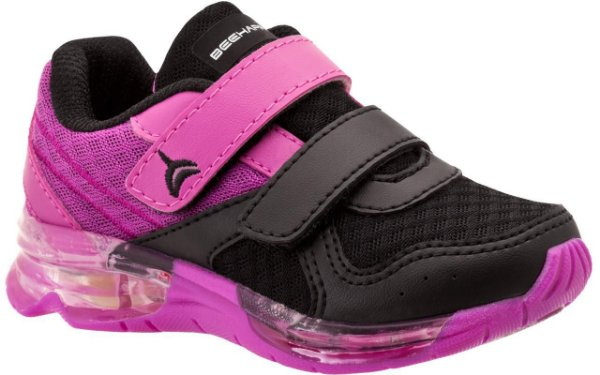 Tênis Infantil Bee Happy Flash Light Feminino 3115-706 - Pink e Preto