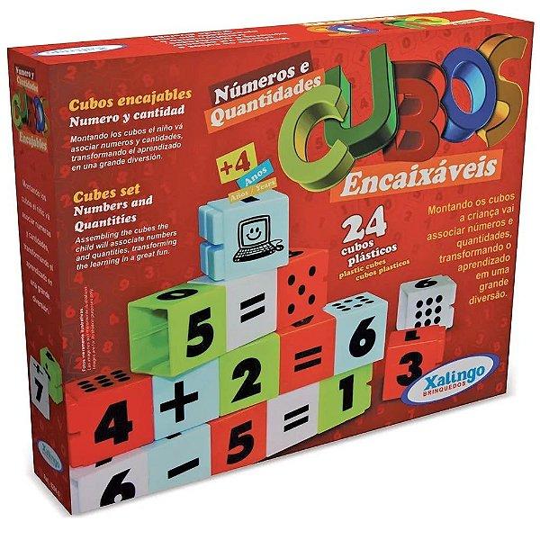 Cubos Encaixáveis Números e Quantidades - Xalingo