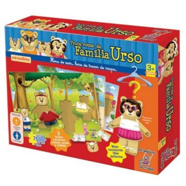 Troca Roupas da Familia Urso Madeira - Brincadeira de Criança