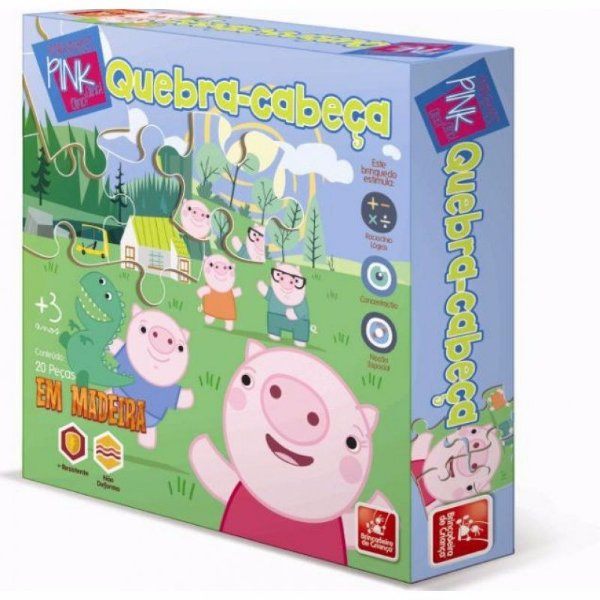 Jogo Educativo Quebra Cabeça Em Madeira Porquinhos Pink