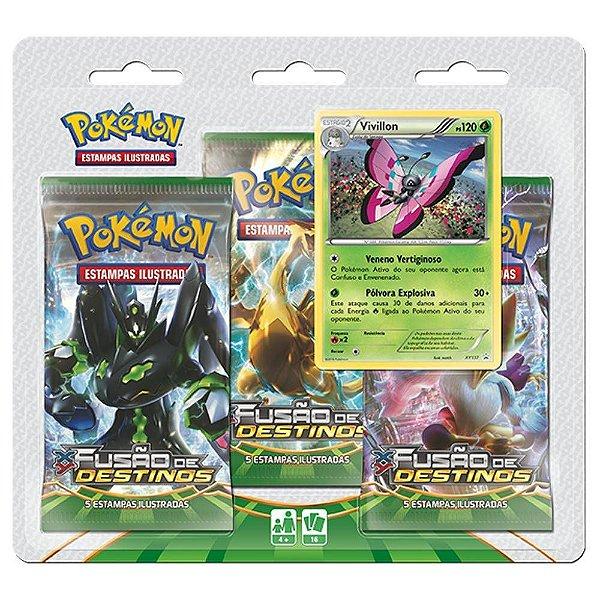 Triple Pack Pokémon Cards XY Fusão de Destinos Vivilon - Copag