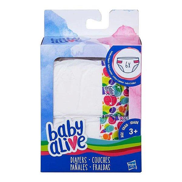 Acessórios Baby Alive - Refil de Fraldas - 6 Fraldas - Hasbro