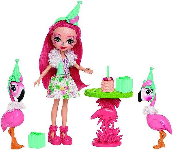 Mini Boneca Enchantimals Histórias Festa com Flamingos - Mattel