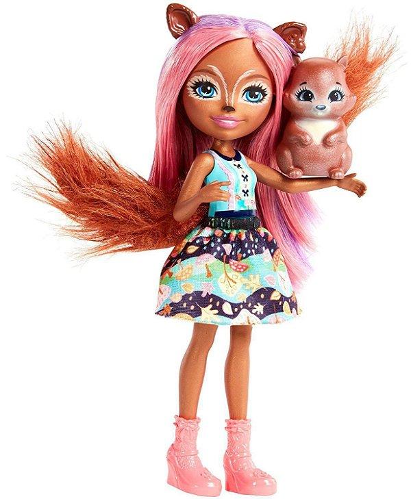 Boneca Enchantimals Bichinho Sancha Squirrel & Stumper - Mattel