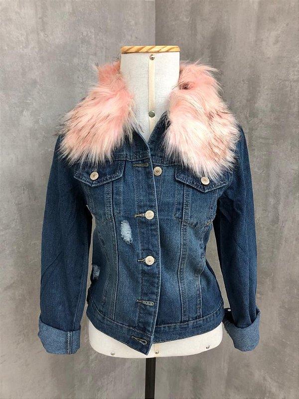 Jaqueta Jeans com Gola de Pelos (removível)