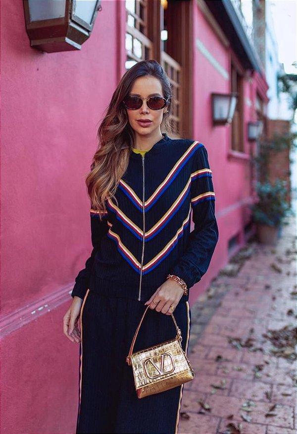 Conjunto Calça e Jaqueta Malha Canelada com Faixas Coloridas