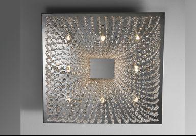 Plafon Quadrado Inox Cristal Lumix Iluminação