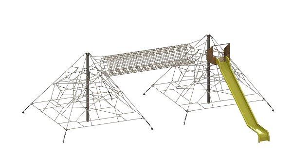 Pirâmides de cordas com túnel e escorrega