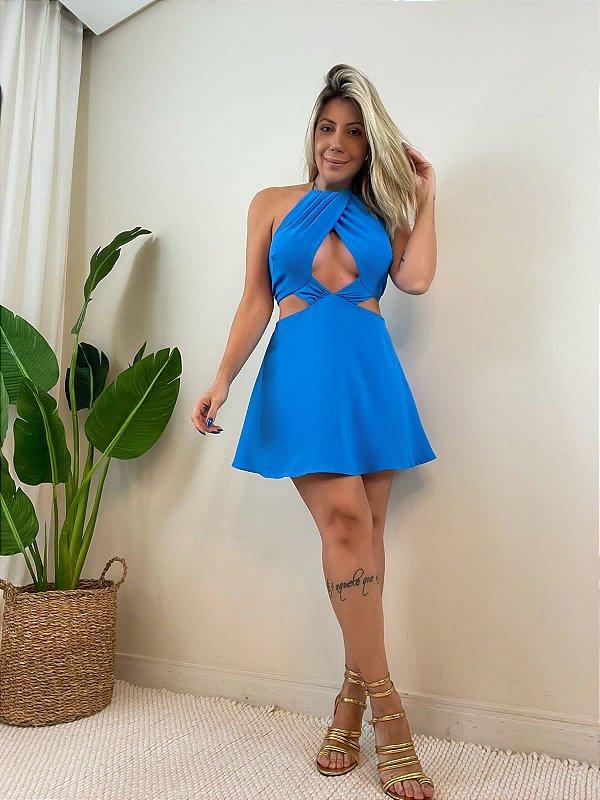 Vestido Amarração Azul