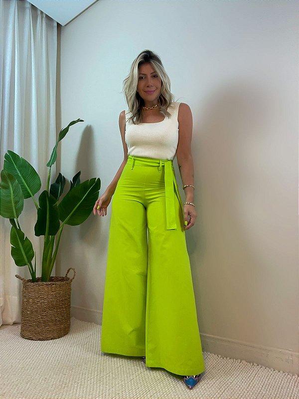 Calça Pantalona Verde Limão siciliano