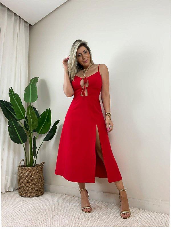 Vestido Itália Midi Vermelho