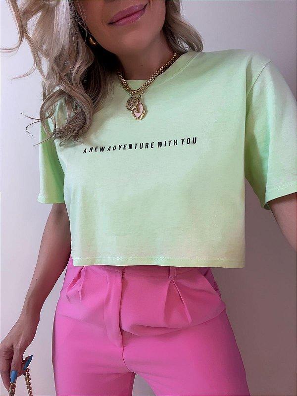 T-shirt Cropped Adventure Verde