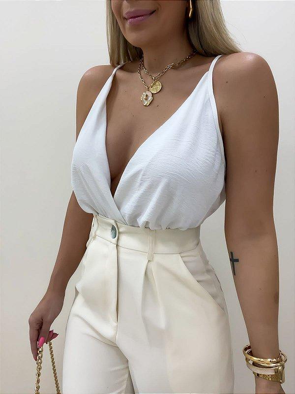 Blusa Transpassada Branca