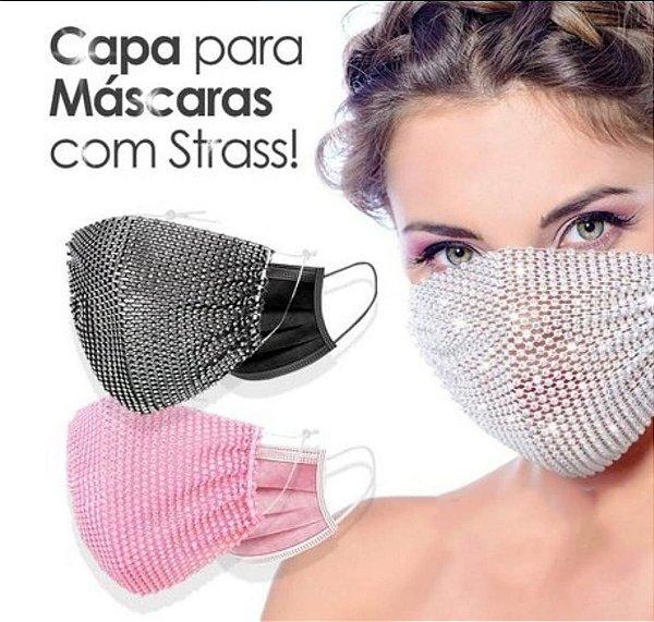 Capa para máscara com strass - rosa escuro