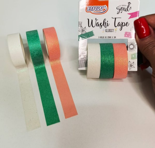 KIT C/2 WASHI TAPE BLISTER GLOSSY C/3 ROLOS
