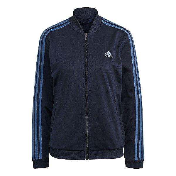 Agasalho Adidas Essentials 3-Stripes Feminino Azul