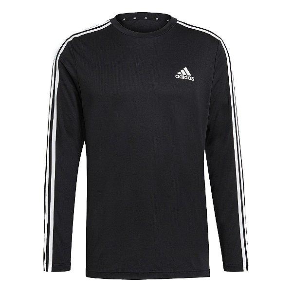 Camisa Adidas Designed To Move Aeroready 3-Stripes Masculino Preto