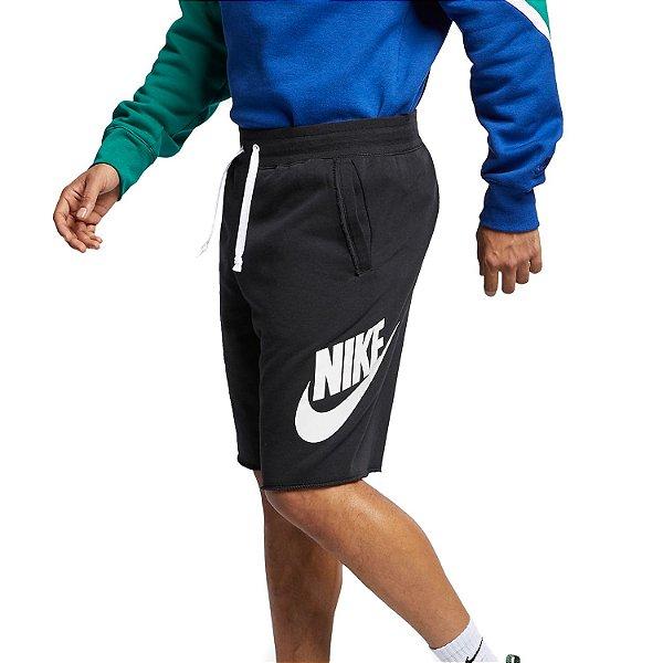 Bermuda Moleton Nike Sportswear Alumni Masculina Preta