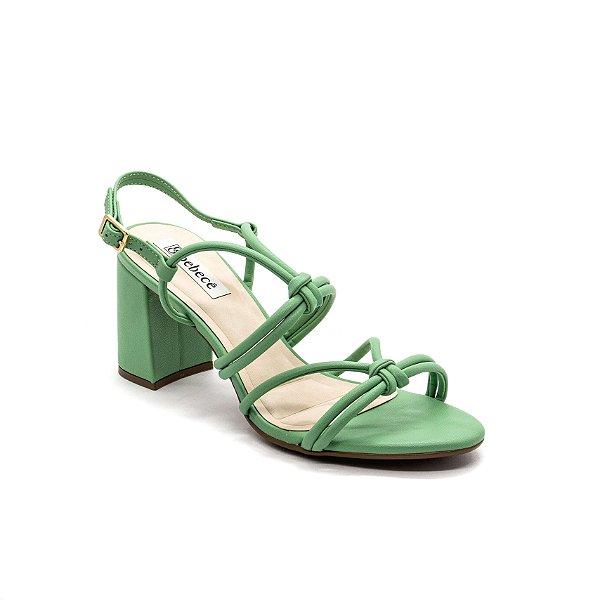 Sandalia Salto Grosso Bebece Feminino Capim