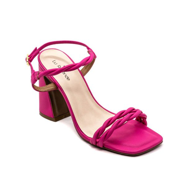Sandália Salto Alto Lu Rezende Feminino Fucsia