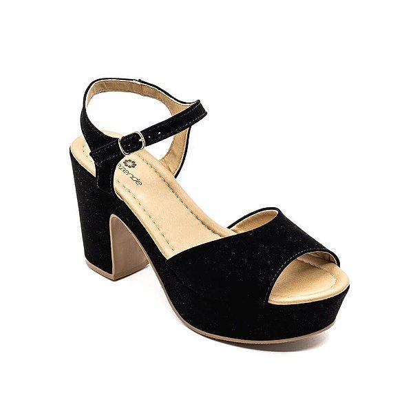 Sandália Salto Grosso Lu Rezende Feminino Preto