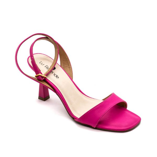 Sandália Salto Grosso Lu Rezende Feminino Fucsia