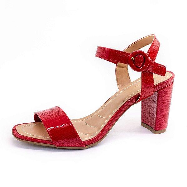 Sandália Salto Grosso Lu Rezende Feminina Vermelha