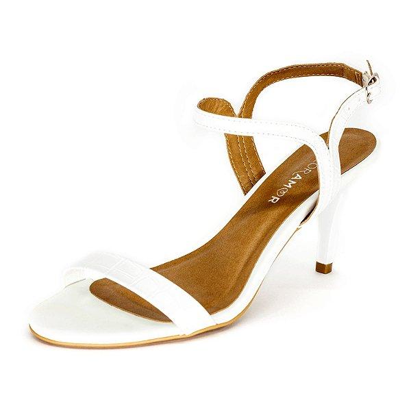 Sandália Salto Fino Floramor Feminina Branco