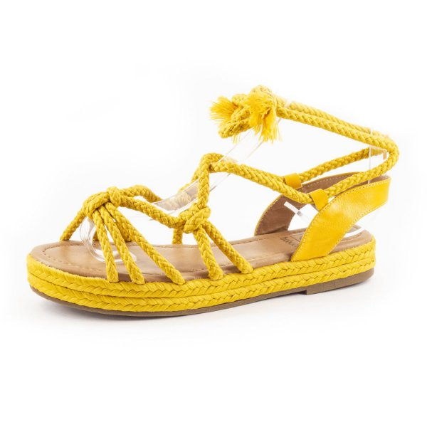 Sandália Plataforma Bebecê Feminina Amarela