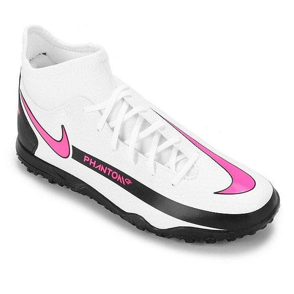 Chuteira Society Nike Phantom Masculino Branco e Rosa