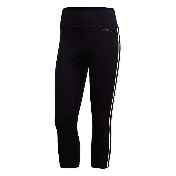 Calça 3-4 Adidas Design 2 Move 3-Stripes Feminina Preta