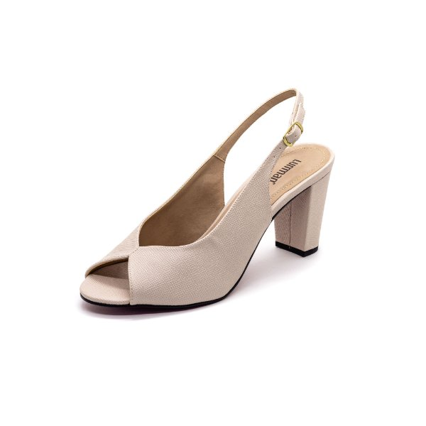 Sapato Peep Toe Lumman Feminino Creme