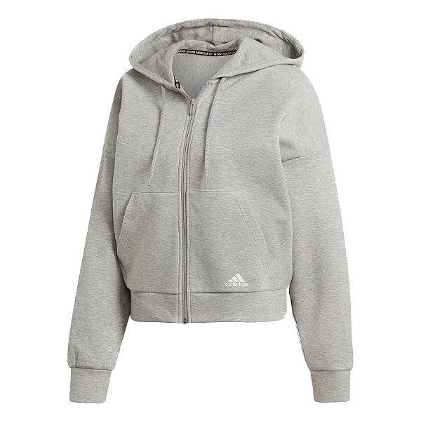Jaqueta com Capuz Adidas Must Haves 3-Stripes Feminina Cinza