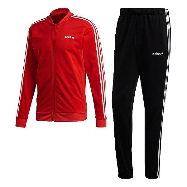 Conjunto Adidas Agasalho Três Listras Masculino Vermelho e Preto
