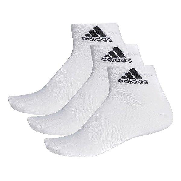 Meia Adidas Ankle Mid Thin 3 Pares Unissex Branca