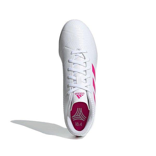 Chuteira Society Adidas Nemeziz Tango 18.4 Masculina Branco e Rosa