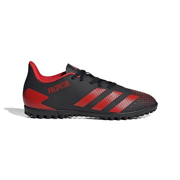 Chuteira Society Adidas Predator 20.4 Masculina Preta e Vermelha