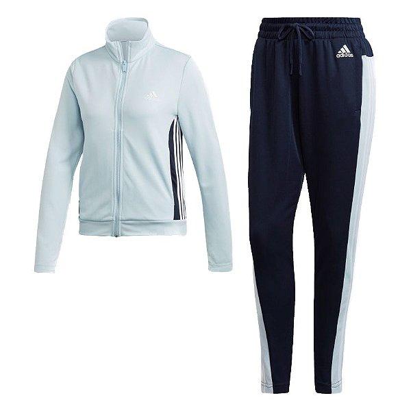 Agasalho Adidas Team Sports Feminino Azul e Preto