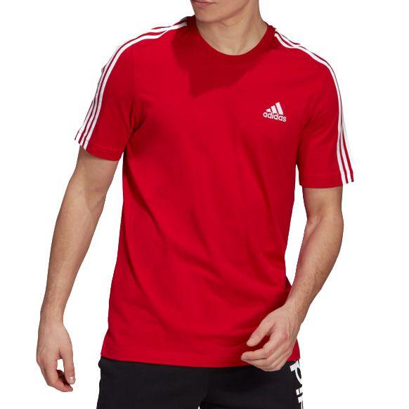 Camisa Adidas Essentials 3-Stripes Masculina Vermelha